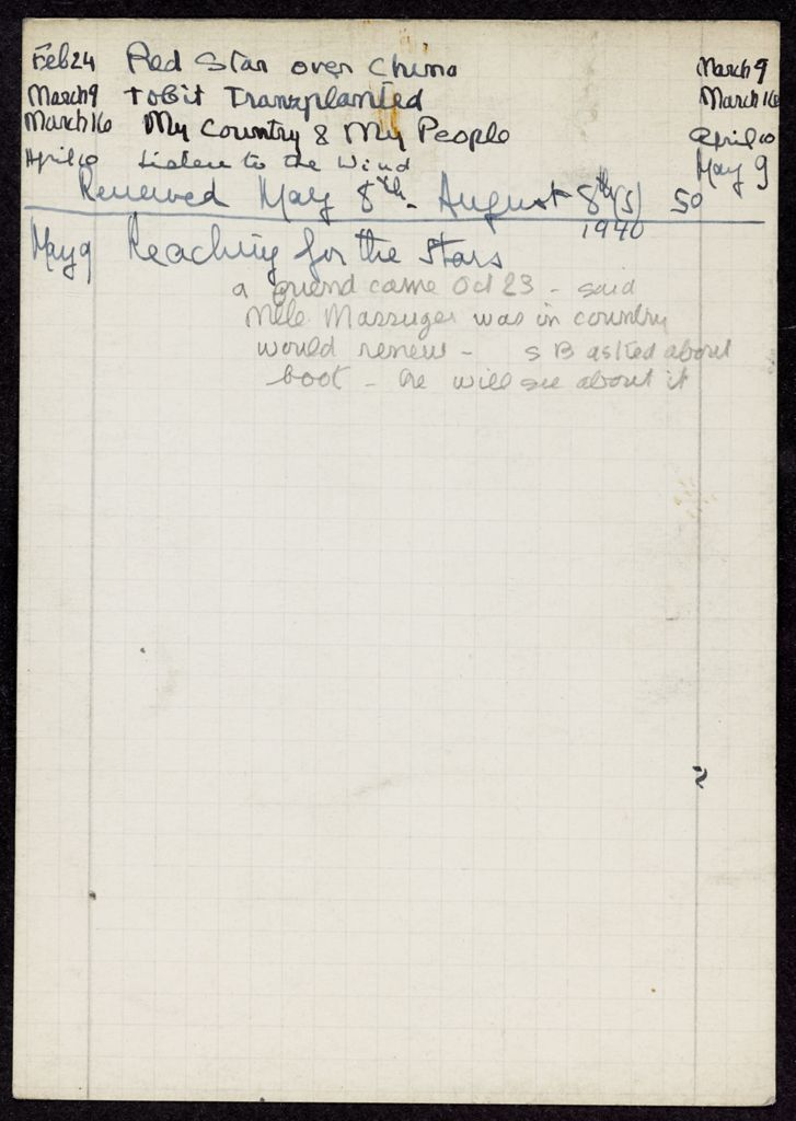 Françoise Massuger 1940 card (large view)