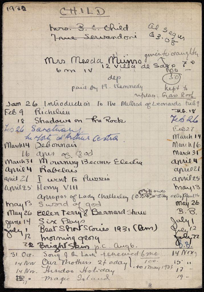 Bertha Cushing Child 1932 card (large view)
