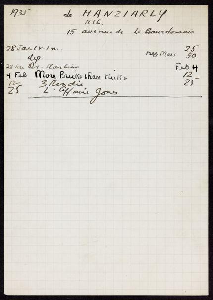 Marcelle de Manziarly 1935 card
