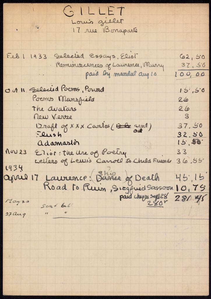 Louis Gillet 1933 – 1934 card (large view)