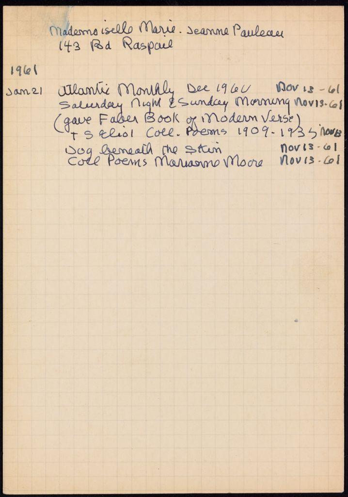 Marie-Jeanne Pauleau 1961 card (large view)