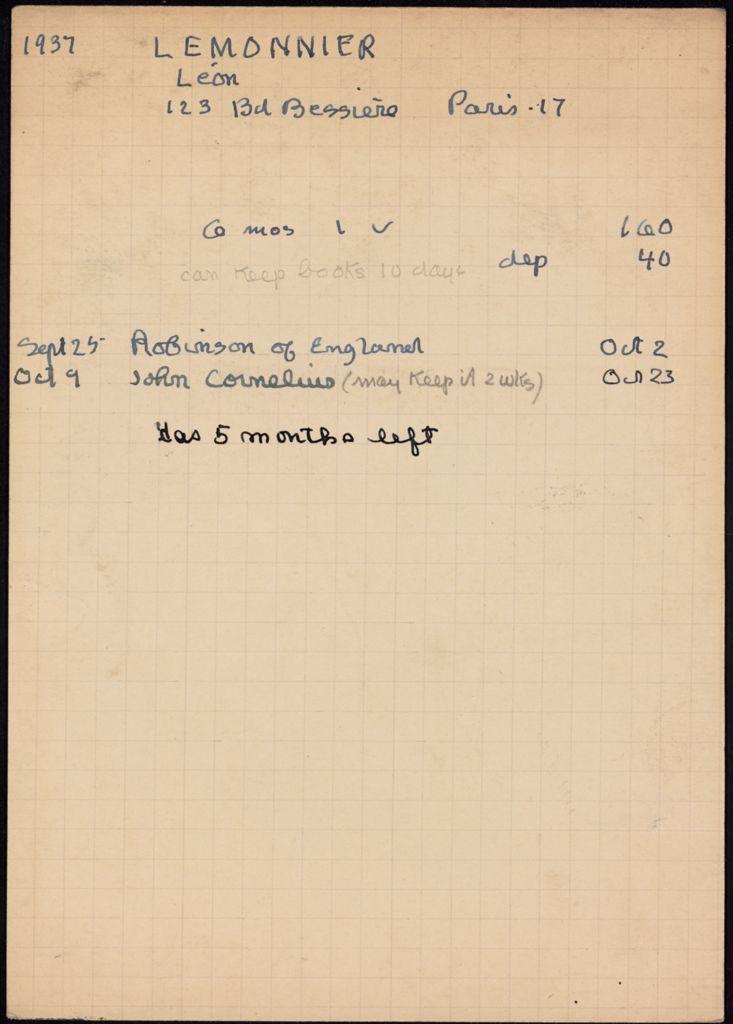 Léon Lemonnier 1937 – 1938 card (large view)