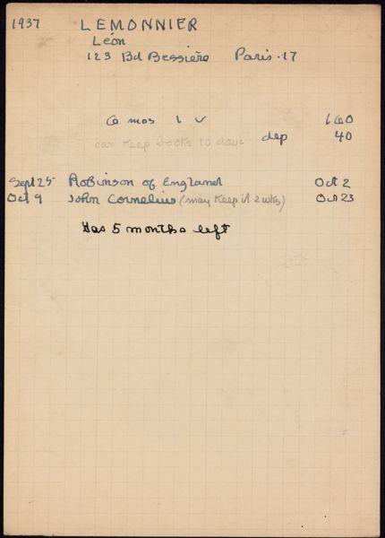 Léon Lemonnier 1937 – 1938 card