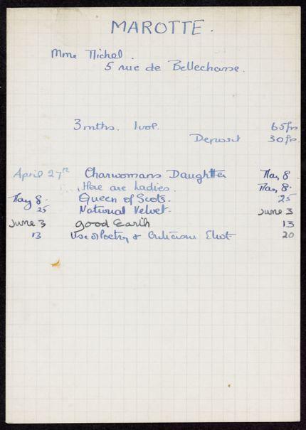 Mme Michel Marotte 1936 card