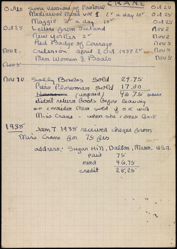 Louise Crane 1937 card (large view)