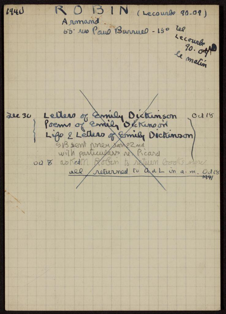 Armand Robin 1940 – 1941 card (large view)