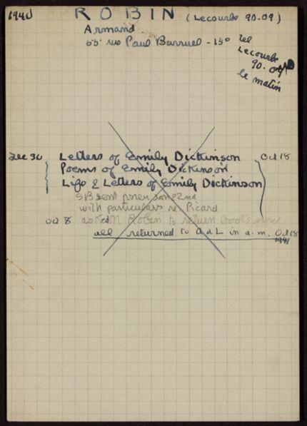 Armand Robin 1940 – 1941 card