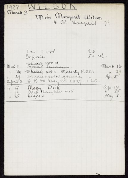 Margaret Wilson 1927 card