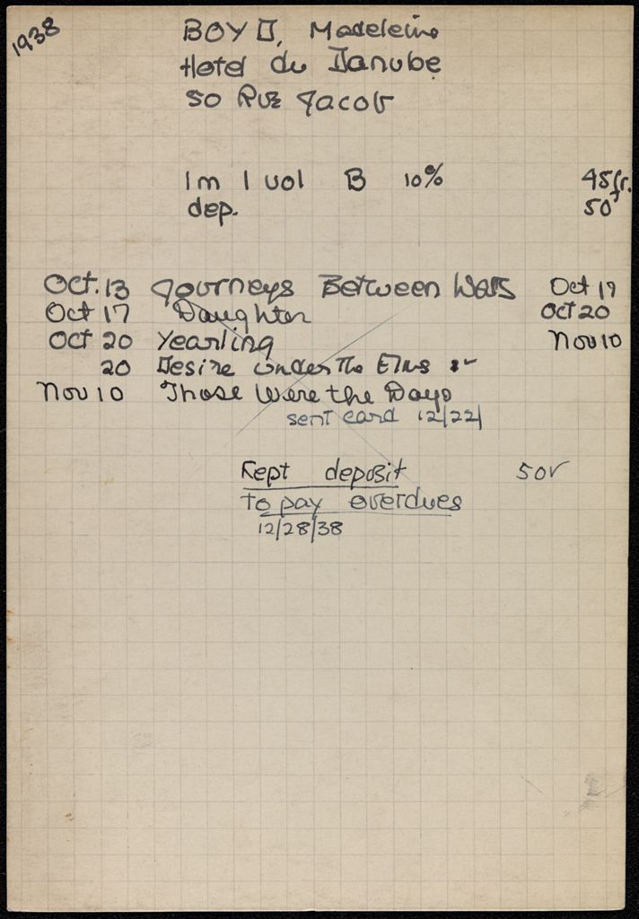 Madeleine Boyd 1938 card (large view)