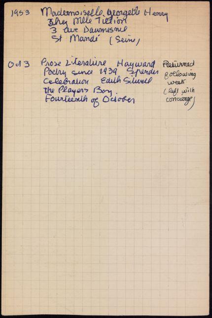Georgette Henry 1953 card