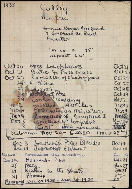 Eric Culley 1938 – 1939 card
