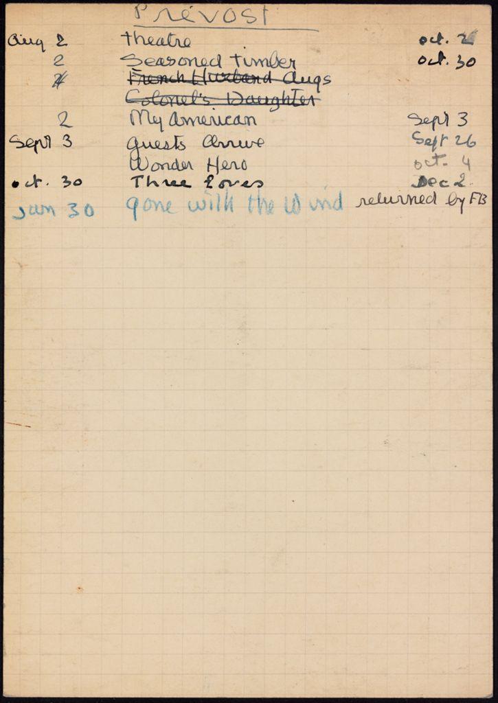 Mme Gérard Prevost 1941 card (large view)