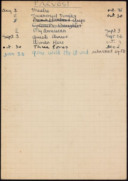 Mme Gérard Prevost 1941 card