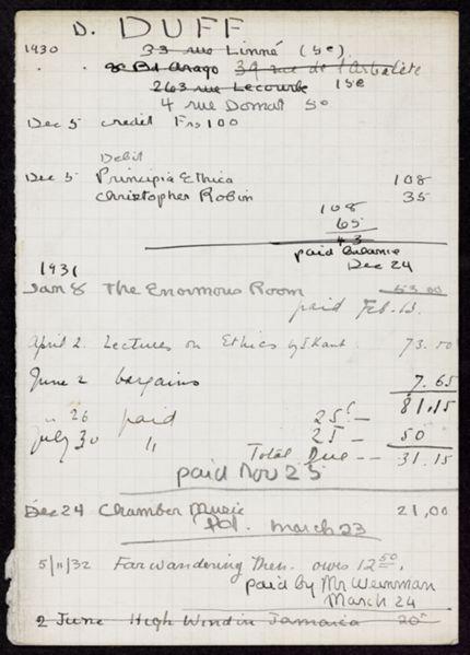 Donald Duff 1930 – 1932 card